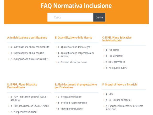 FAQ Normativa inclusione - Menu principale